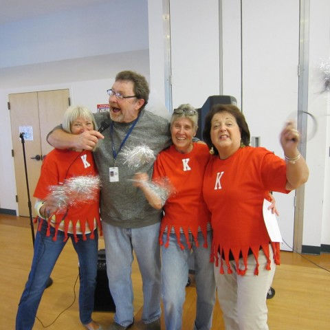 Kevin and his Line Dance Cheerleaders!