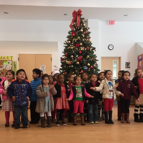 St. Peter's Kindergarten students sing Santa Claus is coming to town