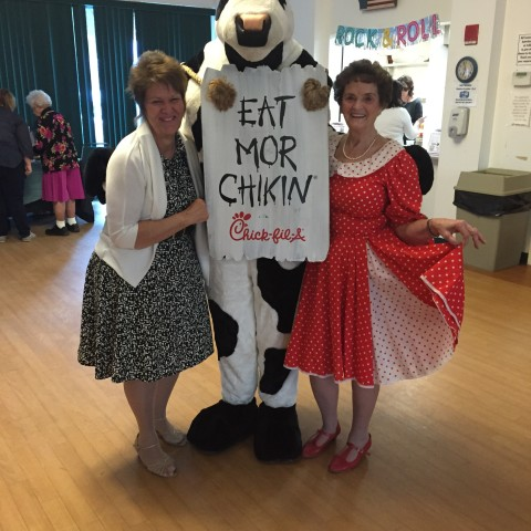 Posing with the Chick-Fil-A Cow