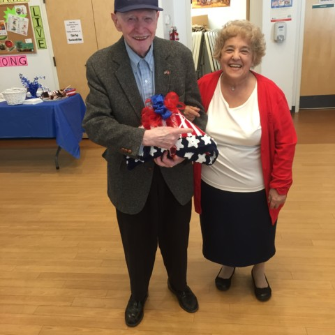 Mort our Patriotic Throw Winner along with Hilda the amazing Crocheter