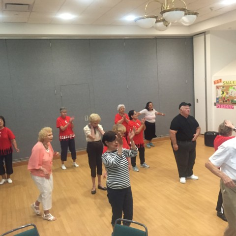 Enjoying Line Dance Practice Class