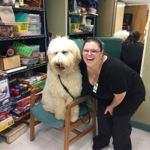 Therapy Dog In-Training Logan Visits at with OT Erin at Glen Hill