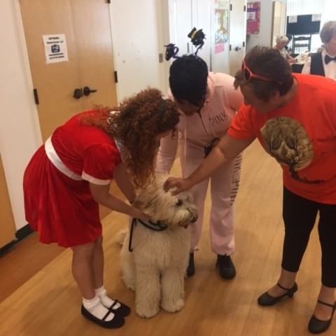 Little Orphan Annie and her dog Sandy visit at Elmwood Hall